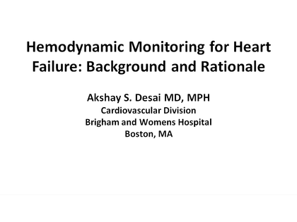 Hemodynamic Monitoring for Heart Failure: Background and